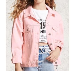 Oversized Pink denim jacket